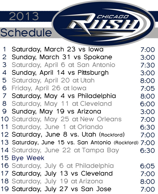 chicago rush 2013 schedule